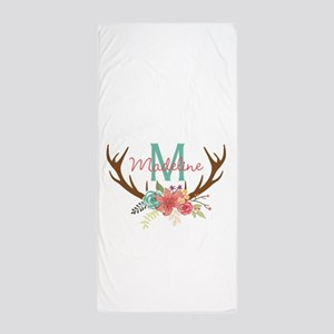 Personalized Floral Antler Monogram Beach Towel