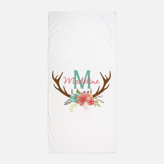 Personalized Floral Antler Monogram Beach Towel