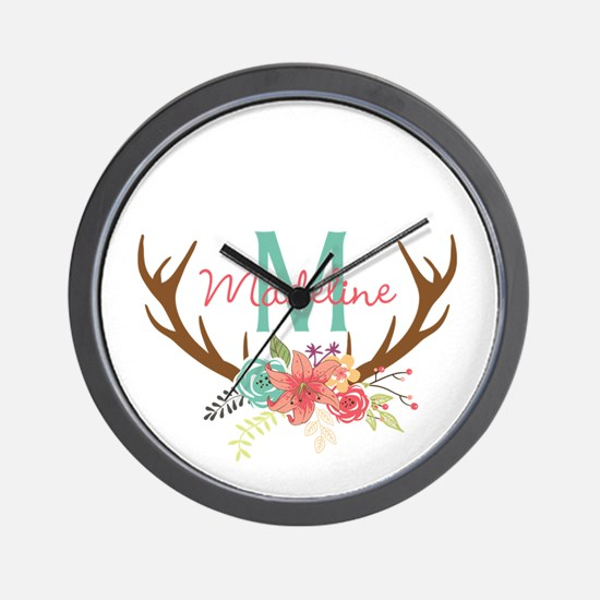 Personalized Floral Antler Monogram Wall Clock