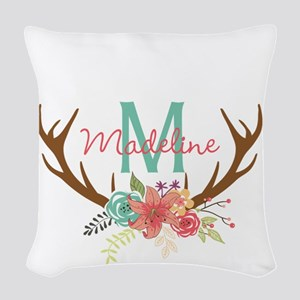 Personalized Floral Antler Monogram Woven Throw Pi
