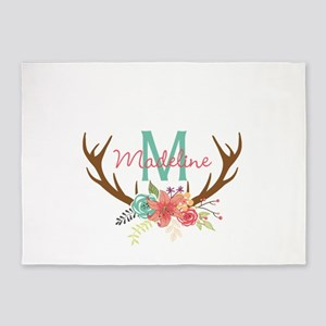 Personalized Floral Antler Monogram 5'x7'Area Rug