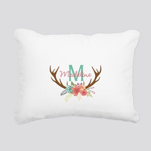 Personalized Floral Antler Monogram Rectangular Ca