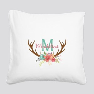 Personalized Floral Antler Monogram Square Canvas