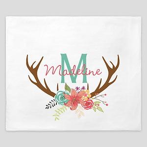 Personalized Floral Antler Monogram King Duvet