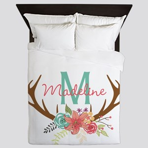 Personalized Floral Antler Monogram Queen Duvet