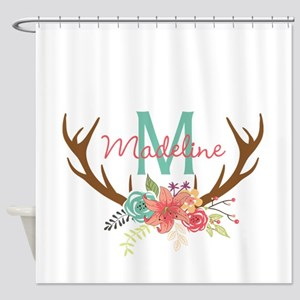 Personalized Floral Antler Monogram Shower Curtain
