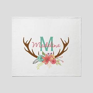 Personalized Floral Antler Monogram Throw Blanket