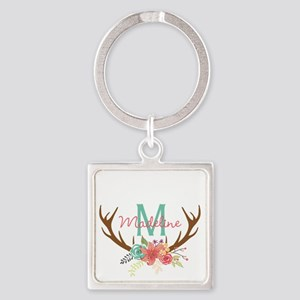 Personalized Floral Antler Monogram Keychains