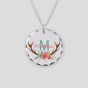 Personalized Floral Antler Monogram Necklace