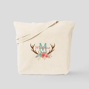 Personalized Floral Antler Monogram Tote Bag