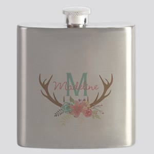 Personalized Floral Antler Monogram Flask