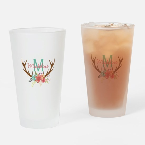 Personalized Floral Antler Monogram Drinking Glass