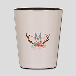 Personalized Floral Antler Monogram Shot Glass
