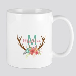 Personalized Floral Antler Monogram Mugs