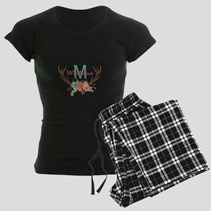 Personalized Floral Antler Monogram Pajamas