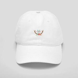 Personalized Floral Antler Monogram Baseball Cap