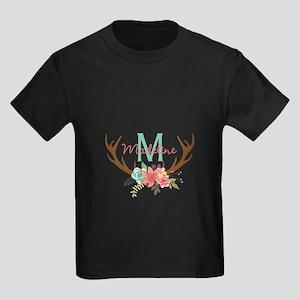 Personalized Floral Antler Monogram T-Shirt