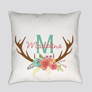 Personalized Floral Antler Monogram Everyday Pillo