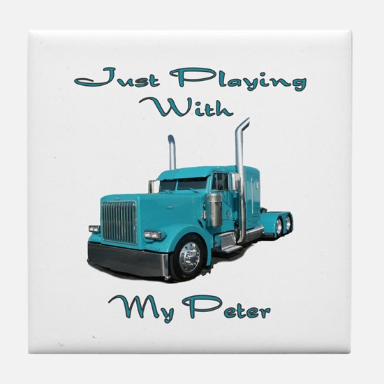 Playing With My Peter Tile Coaster