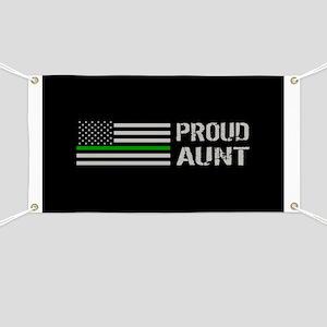U.S. Flag Green Line: Proud Aunt (Black) Banner