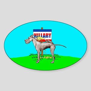 Black Dane Pi$$ on Hillary Oval Sticker