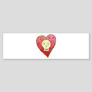 Skull Heart Bumper Sticker