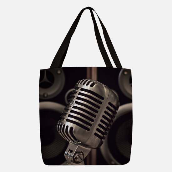 Microphone Polyester Tote Bag