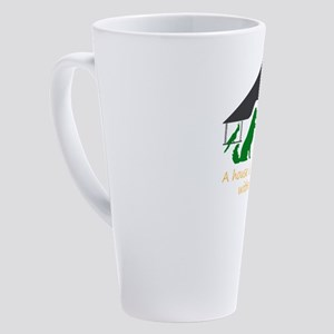 a house is not a home without a pe 17 oz Latte Mug