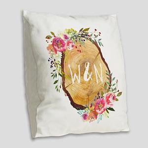 Monogram Initials in Wood Burlap Throw Pillow