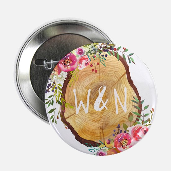 """Monogram Initials in Wood 2.25"""" Button (10 pack)"""