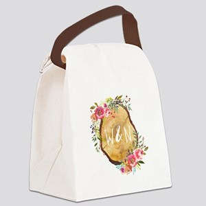 Monogram Initials in Wood Canvas Lunch Bag