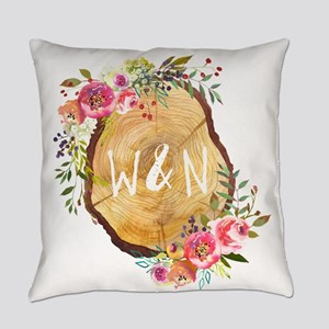 Monogram Initials in Wood Everyday Pillow