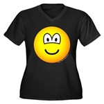Emoface Women's Plus Size V-Neck Dark T-Shirt