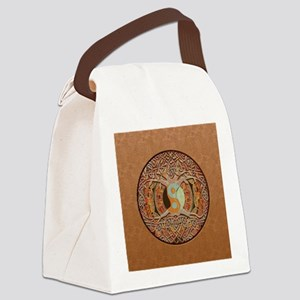 Yin Yang Tree of Life Brown Leath Canvas Lunch Bag
