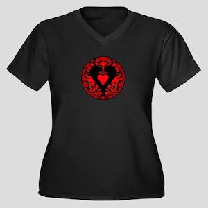 My Red Angel Heart Women's Plus Size V-Neck Dark T