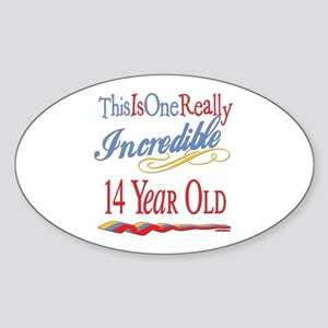 Incredible At 14 Oval Sticker