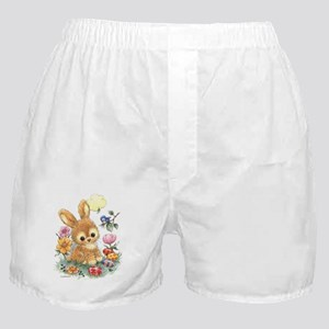 Cute Easter Bunny with Flowers and Eggs Boxer Shor