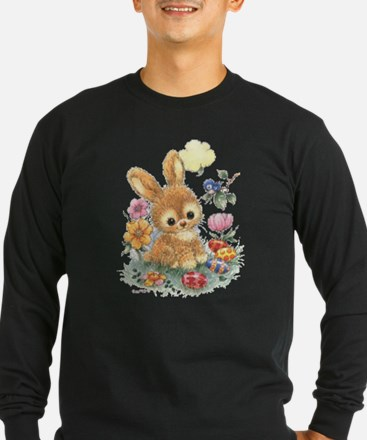 Cute Easter Bunny with Flowers and Eggs T