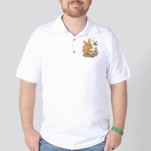Cute Easter Bunny with Flowers and Eggs Golf Shirt
