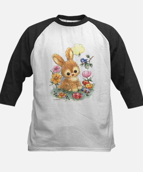 Cute Easter Bunny with Flowers and Eggs Baseball J