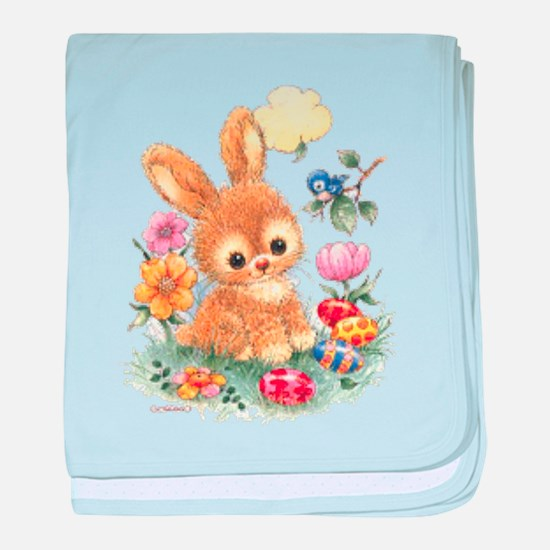 Cute Easter Bunny with Flowers and Eggs baby blank