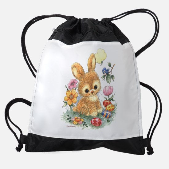 Cute Easter Bunny With Flowers And Drawstring Bag