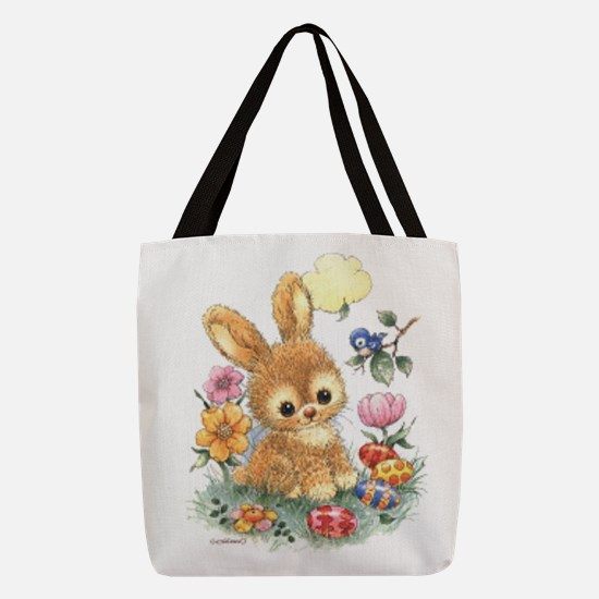 Cute Easter Bunny With Flowers Polyester Tote Bag