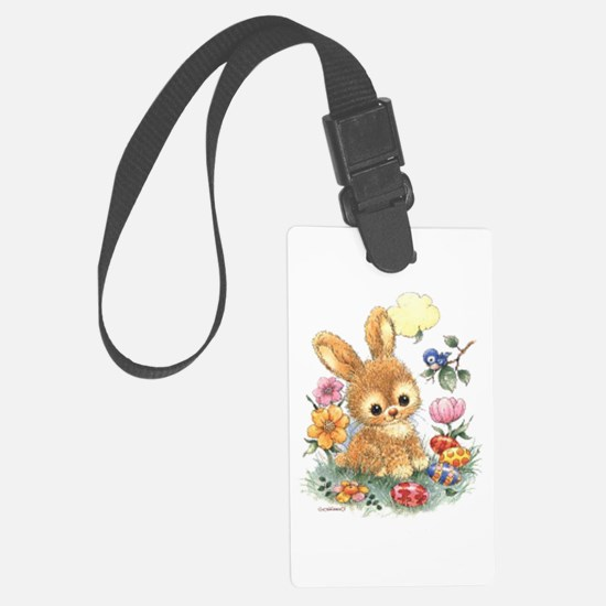 Cute Easter Bunny With Flowers Luggage Tag