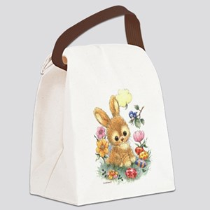 Cute Easter Bunny with Flowers and Eggs Canvas Lun