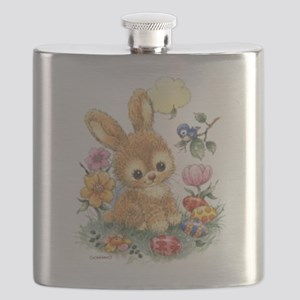 Cute Easter Bunny with Flowers and Eggs Flask