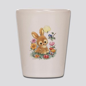 Cute Easter Bunny with Flowers and Eggs Shot Glass