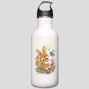 Cute Easter Bunny with Flowers and Eggs Water Bott