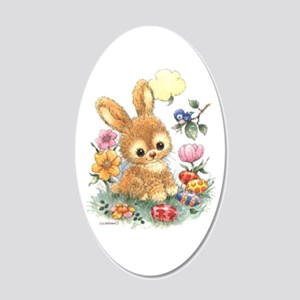 Cute Easter Bunny With 20x12 Oval Wall Decal