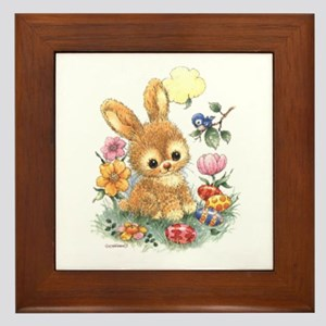 Cute Easter Bunny With Flowers And Framed Tile